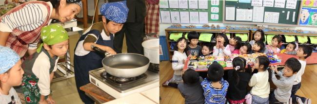 左・子ども料理教室:初めてのガス点火一年生児童、右・弁当の日:お弁当を囲み笑顔で記念撮影
